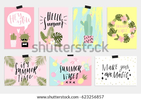 Shutterstock Cute Summer cards, posters set with cactus, palm tropical leave and inspirational lettering. Invitation, greeting card, friend letter, vacation flyer, bright colors background. Horizontal and vertical