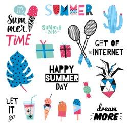 Cute Summer Design Scandinavian Set of Trendy Holiday Summer Elements. Summer Typographic. Vector. Isolated. White Background. Modern Summer Concept. Hawaii, sport, palm, ice cream, pineapple, swim
