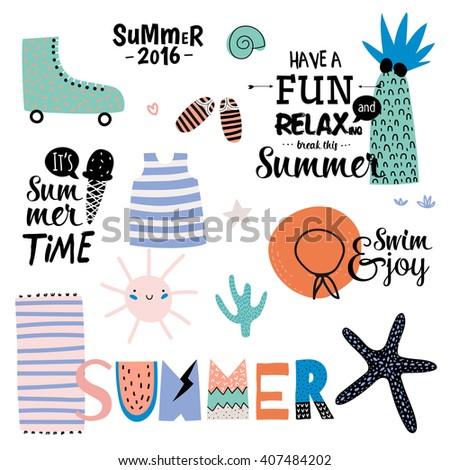 cute summer design set of