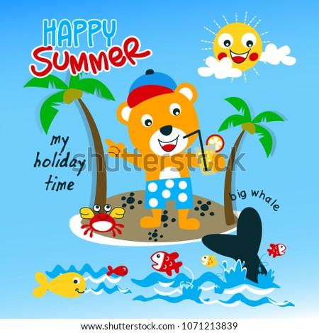 cute summer fun animal cartoon vector #1071213839