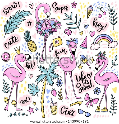 Cute summer stickers set with flamingos, ice cream, watermelon, pineapple, rainbow, lemonade, tropical leaves. Stickers, pins badges, patches Vector elements in flat style