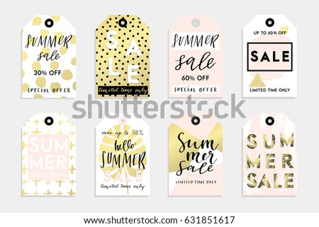 Cute summer tags set for your product with abstract textures, sale lettering and much more. Vector collection with hand drawn elements