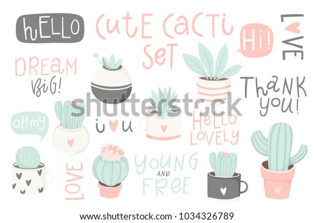 Cute summer theme cactus. Pretty and soft pastel colors. Hand drawn set of different cactus, succulents and lettering. Vector illustration