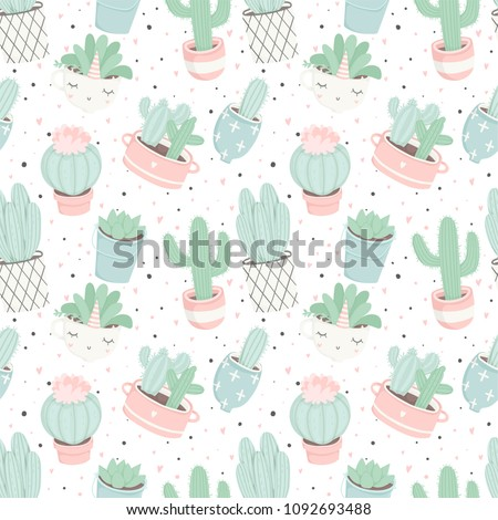 Cute summer theme seamless pattern with cacti. Pretty and soft pastel colors. Pattern with different cactuses and succulents in pretty pot. Trendy pastel colors. Vector illustration with house plants