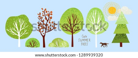 cute summer trees  vector