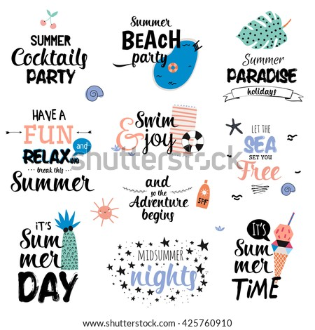 cute summer typography design