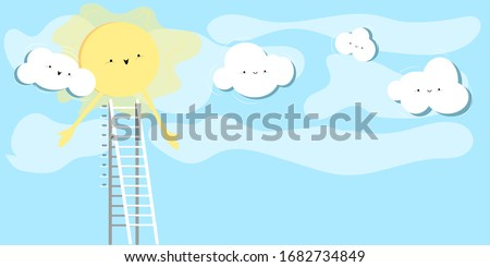 Cute sun and clouds in blue sky. Wallpaper for kids bedroom with growth meter. Vector illustration.