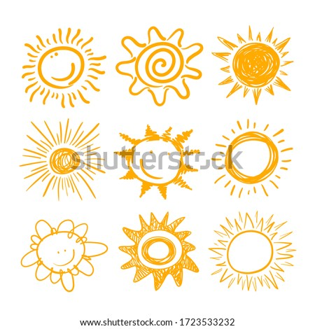 Cute Sun Icons Set. Yellow Childish Doodle Emoticons Collection. Smiling Sun with Sunbeams Cartoon Hand Drawn Characters Isolated on White Background. Tshirt Print Design Element. Vector Illustration