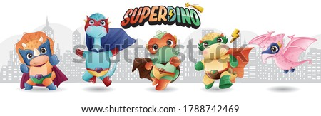 Cute super dinosaur with watercolor illustration