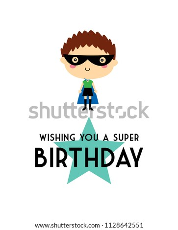 cute superhero boy birthday card vector. cute little hero boy super birthday greeting card.