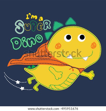 cute superhero dinosaur flying