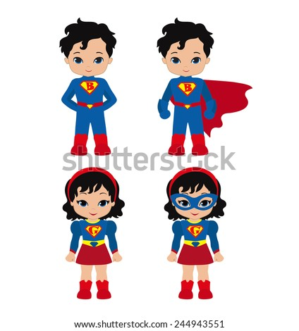 cute superhero girl and boy