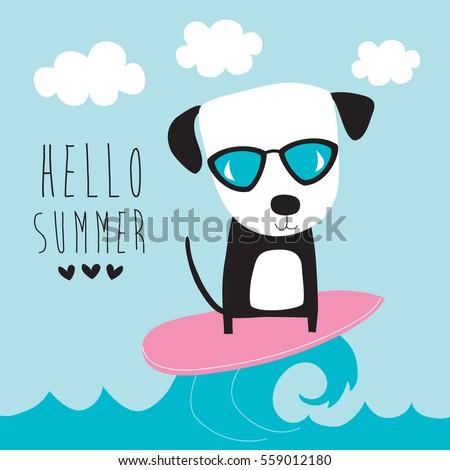 cute surf dog vector