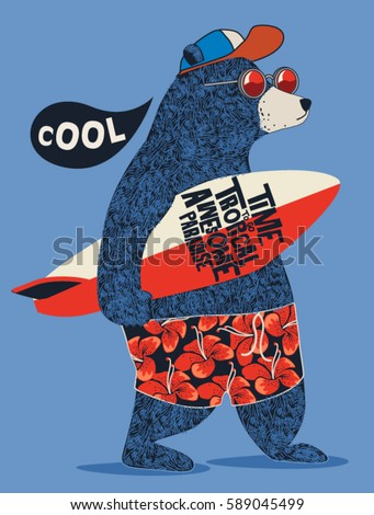 cute surfer bear vector design for kids t-shirt