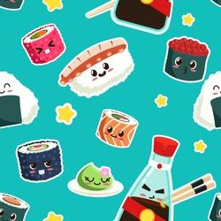 cute sushi seamless pattern Vector Cartoon character