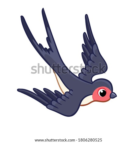 Cute swallow is flying rapidly to the bottom on a white background. Vector illustration with a bird on a white background.  Foto stock ©
