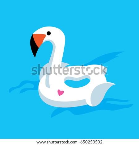 cute swan float in the water