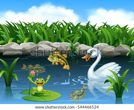 stock-vector-cute-swan-swimming-on-the-pond-and-frog