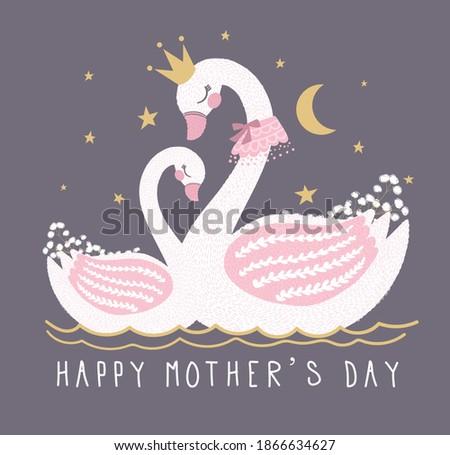 cute swan vectorhappy mothers