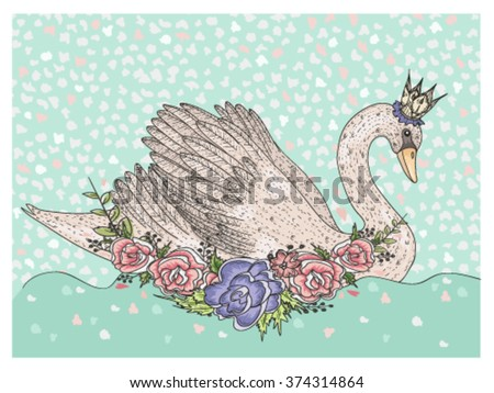 cute swan with crown and