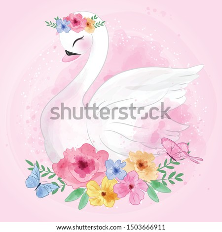 cute swan with flower