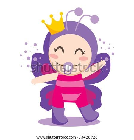 Cute sweet baby girl wearing queen butterfly costume