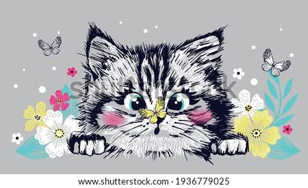 Cute sweet cat kitten head looks on butterfly. Hand drawn vector illustration. Print for kids t-shirt.