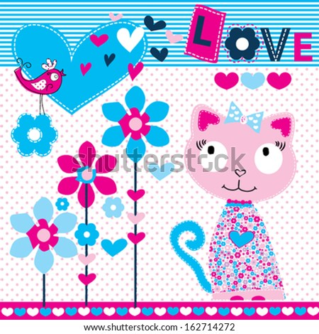 cute sweet cat vector illustration