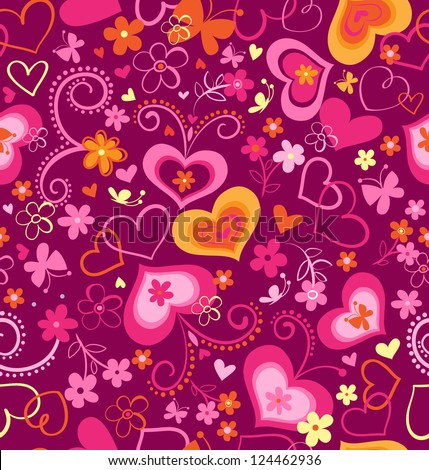 cute swirly hearts seamless