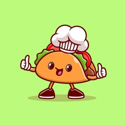 Cute Taco Chef Thumbs Up Cartoon Vector Icon Illustration. Food Profession Icon Concept Isolated Premium Vector. Flat Cartoon Style