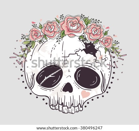 cute skull with flowers download free vector art stock graphics