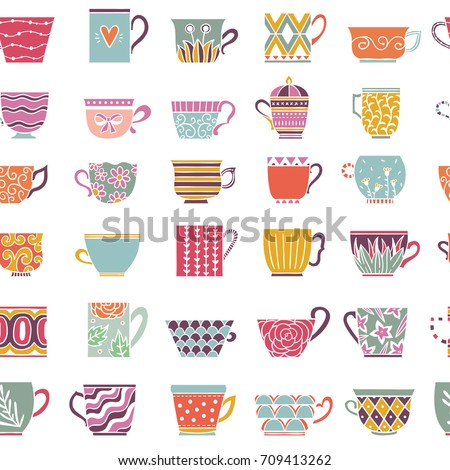 cute tea cups seamless pattern
