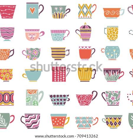 cute tea cups seamless pattern