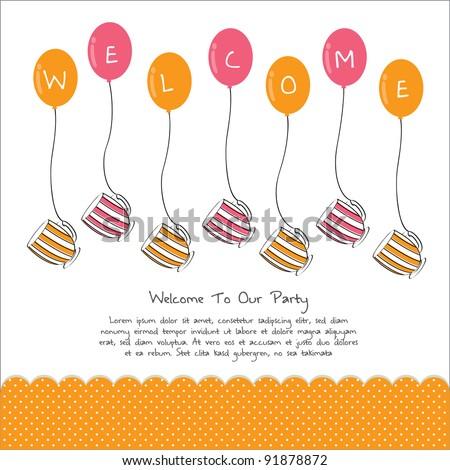 cute tea party invitation card