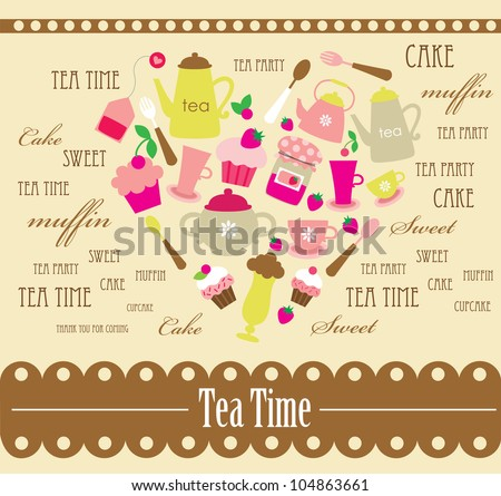 cute tea time card.vector illustration - stock vector