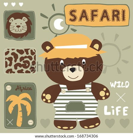 cute teddy bear and safari wild life vector illustration