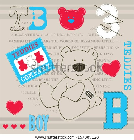 cute teddy bear baby shower invitation card vector illustration