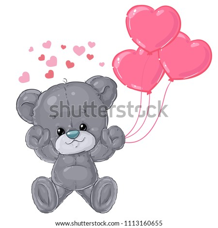 Cute teddy bear card for Valentine's day. Greeting card. Love and friendship.
