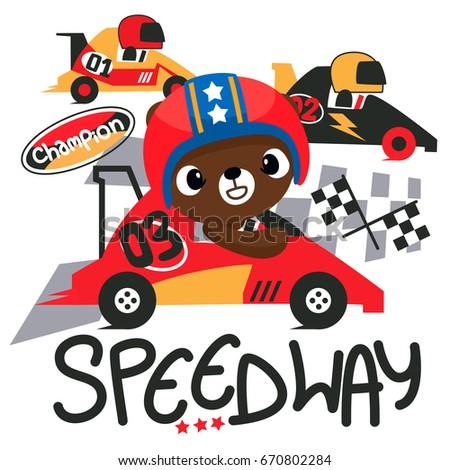 cute teddy bear cartoon driving ...