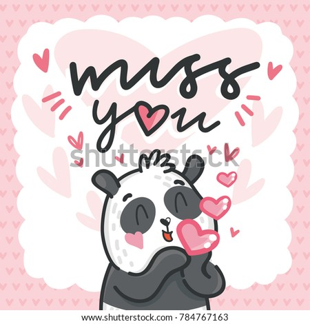 Cute Teddy Bear Character In Love With Air Kiss And Love Text Miss