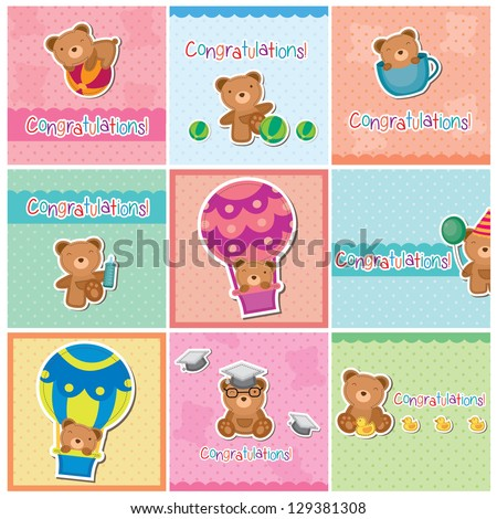Cute teddy bear digital cards