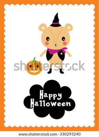 cute teddy bear halloween card #330293240