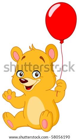Cute teddy bear holding a balloon