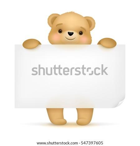 Cute teddy bear holding banner Foto stock ©