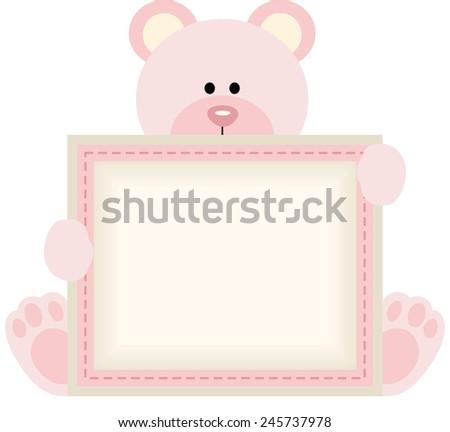 cute teddy bear holding blank