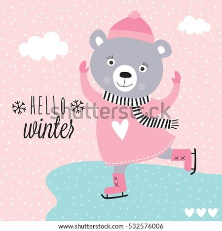cute teddy bear ice skating