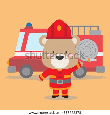 cute teddy bear in fire fighter