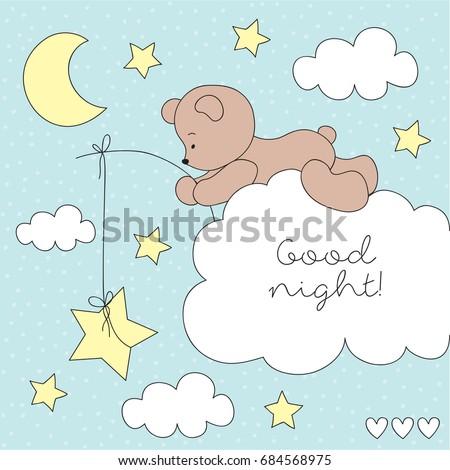 cute teddy bear on the cloud