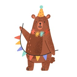 Cute teddy bear wearing party cap and holding garlands. Funny animal cub in scandinavian style celebrating birthday. Flat vector cartoon textured illustration isolated on white background