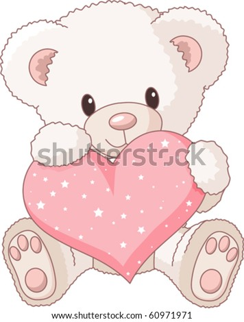 stock vector : Cute Teddy Bear with pink love heart